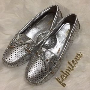 NEW Wow! Silver flat loafers